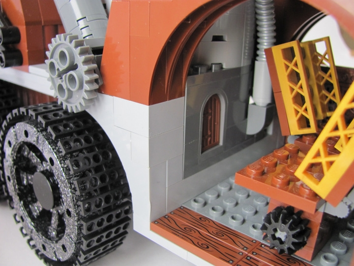 LEGO MOC - Steampunk Machine - Excalibur: <br><i>- Air Injection System. Also we can see fire-box-door. It can be feed by wood or coal of other fuel.</i><br>