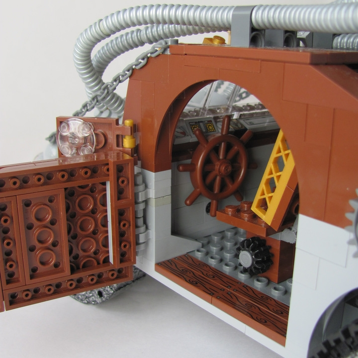 LEGO MOC - Steampunk Machine - Excalibur: <br><i>- Steering-wheel provides precious steering control.</i><br>