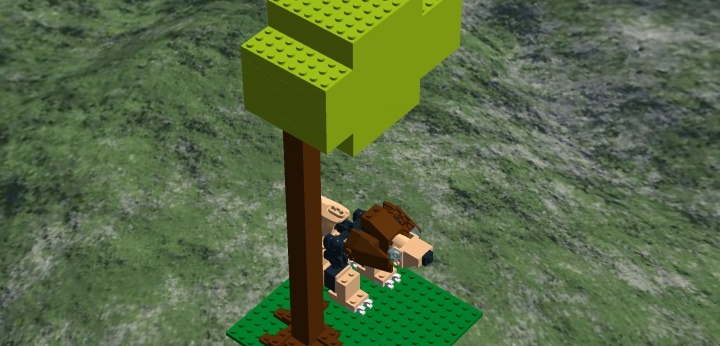 LEGO MOC - 16x16: Animals - Lion under the breaking Baobab