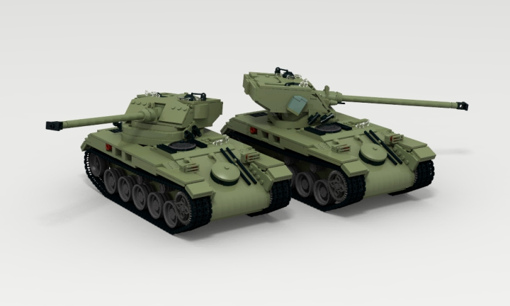 LEGO MOC - LDD-contest '20th-century military equipment‎' - Light Tank AMX-13: Углы вертикальной наводки -6...+13 градусов.