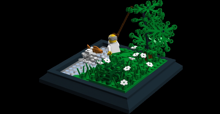 LEGO MOC - Russian Tales' Wonders - The Tale of the Fisherman and the Fish: An angle that shows the pile of seaweed.